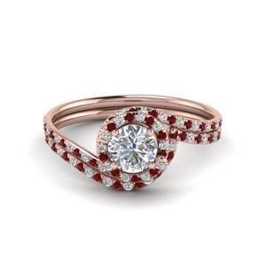 Petite Halo Ruby Wedding Set