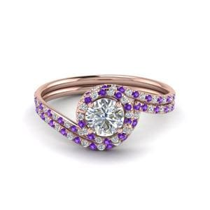 Round Cut Purple Topaz Wedding Set
