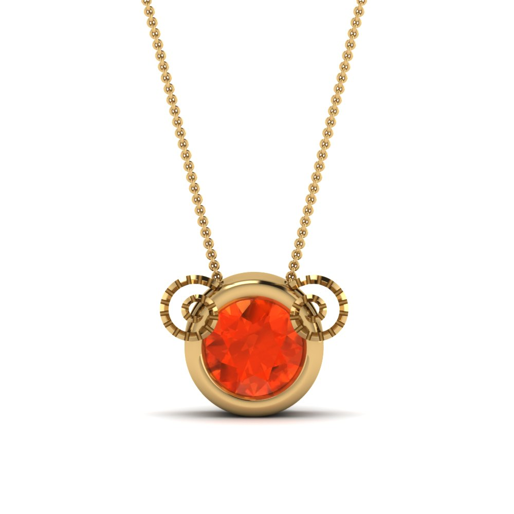 Bezel Set Orange Topaz Pendant