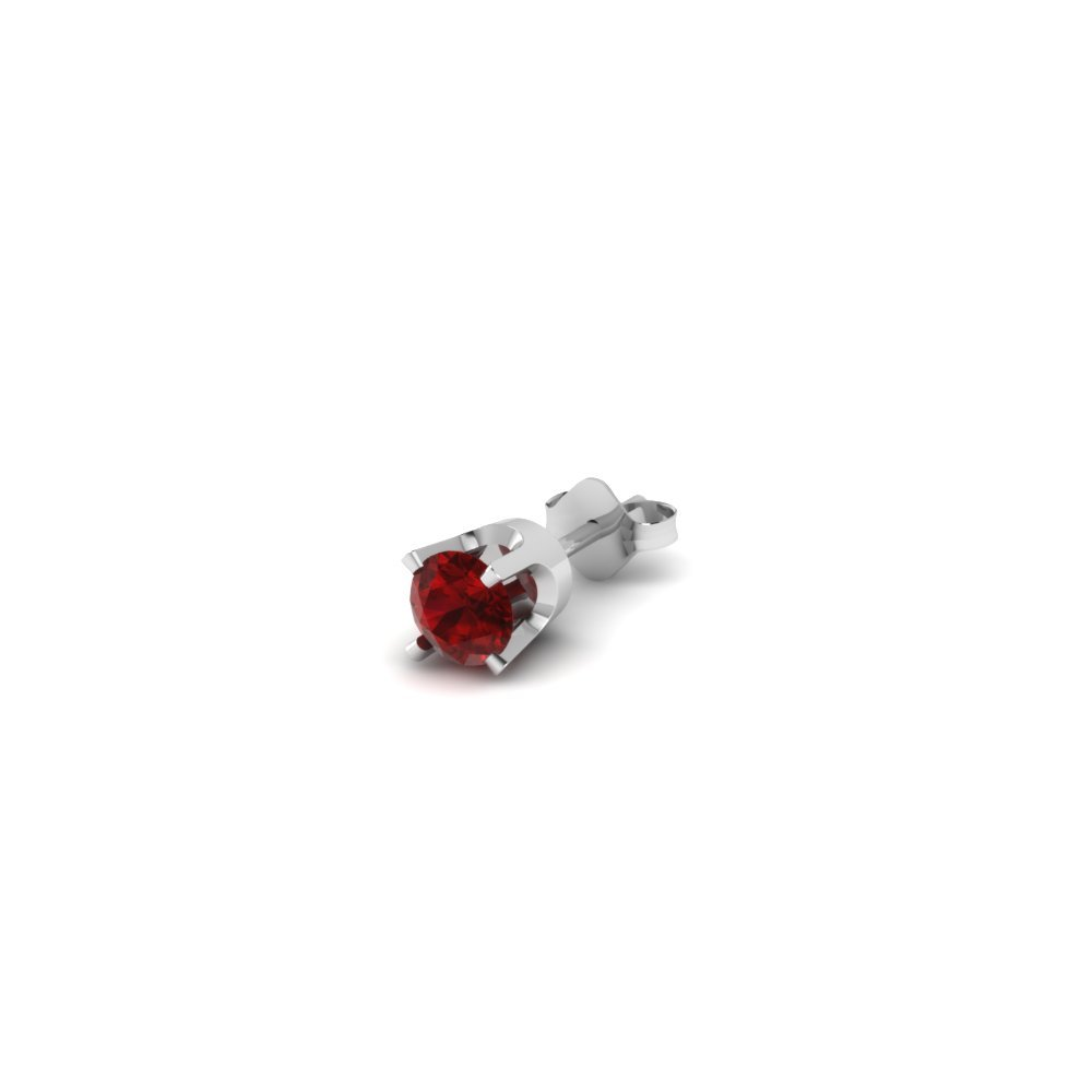 Round Ruby Stud Earring