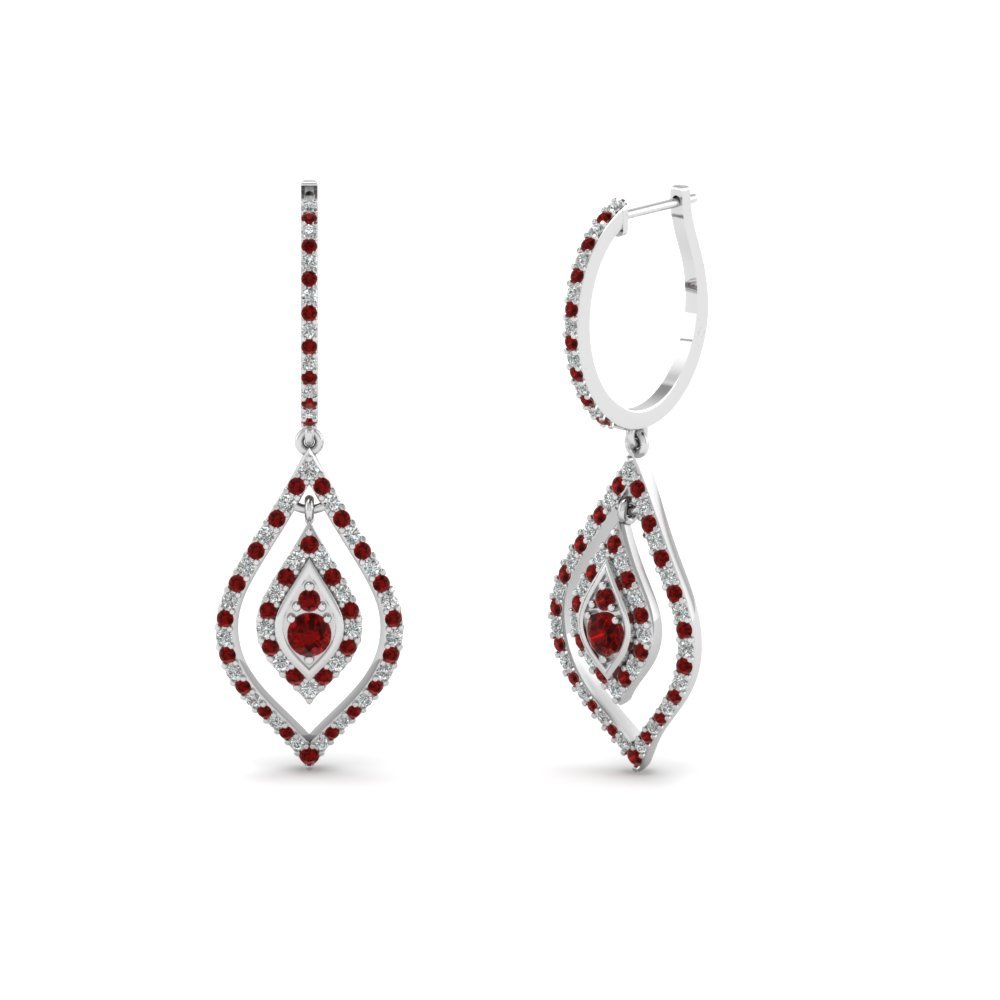 Marquise Round Ruby Earring