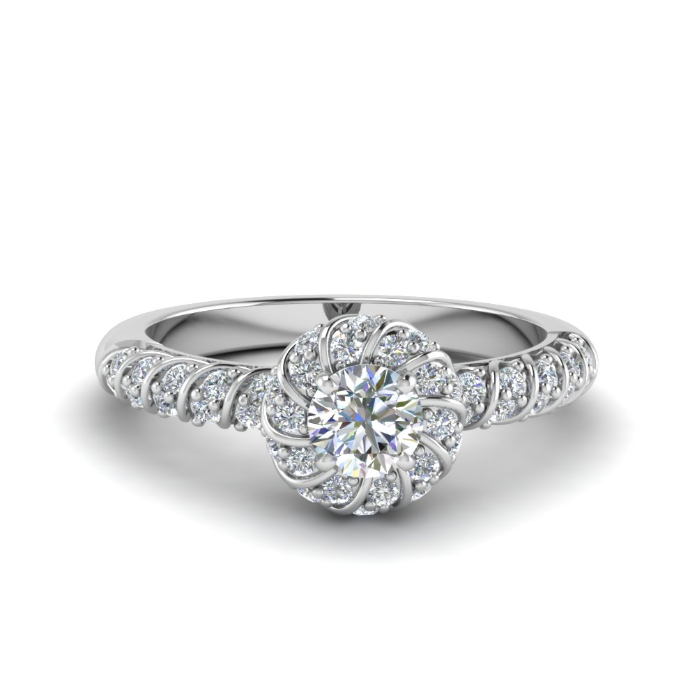 Rope Halo Diamond Ring