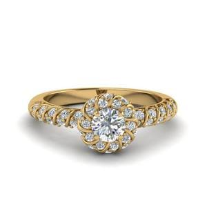 Round Cut Rope Twisted Halo Diamond Ring In 14K Yellow Gold