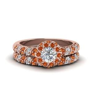Halo Orange Sapphire Bridal Ring Set