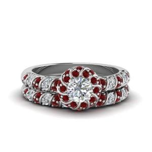 White Gold Ruby Ring Set