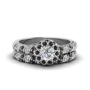 Round Black Diamond Bridal Set