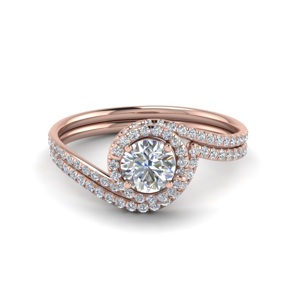 Round Cut Simple Diamond Halo Swirl Bridal Set In 14K Rose Gold