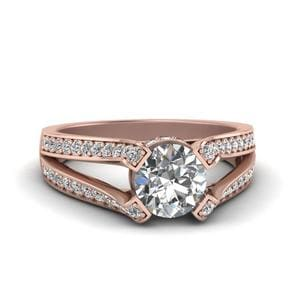 Split Pave 4 Prong Diamond Ring