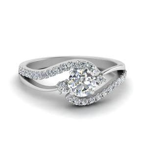 Swirl 3 Stone Diamond Ring