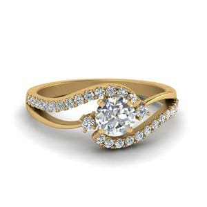 Swirl 3 Stone Diamond Engagement Ring