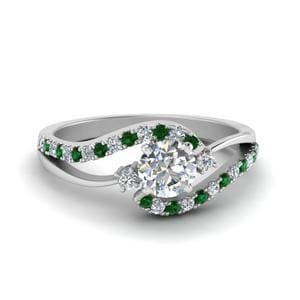 Swirl 3 Stone Emerald Ring