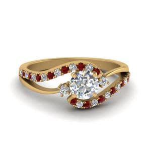 Split Shank Swirl Ruby Ring
