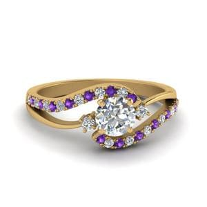 3 Stone Purple Topaz Ring