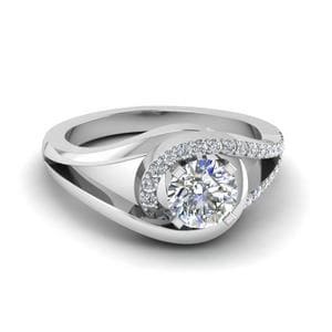 Round Cut Swirl Diamond Split Shank Engagement Ring For Women In 14K White Gold