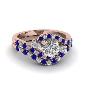 Halo Wedding Set With Sapphire