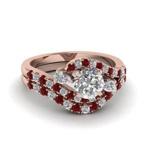 Pink Gold Wedding Ring Set With Ruby
