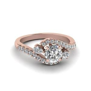 Round Cut Swirl Halo Simple Diamond Engagement Ring In 14K Rose Gold