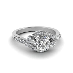 Round Cut Swirl Halo Simple Diamond Engagement Ring In 14K White Gold