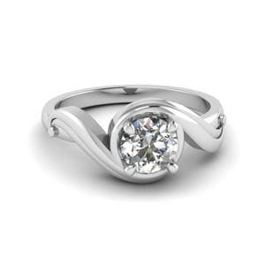 Round Cut Swirl Solitaire Diamond Engagement Ring In 18K White Gold