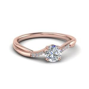 Round Cut Thin Twisted Diamond Ring In 14K Rose Gold