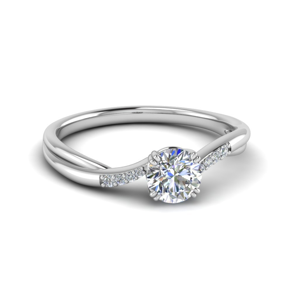 Round Cut Thin Twisted Diamond Ring In 950 Platinum