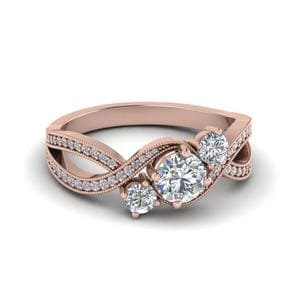 Round Cut Three Stone Accents Diamond Swirl Milgrain Engagement Pave Ring In 14K Rose Gold