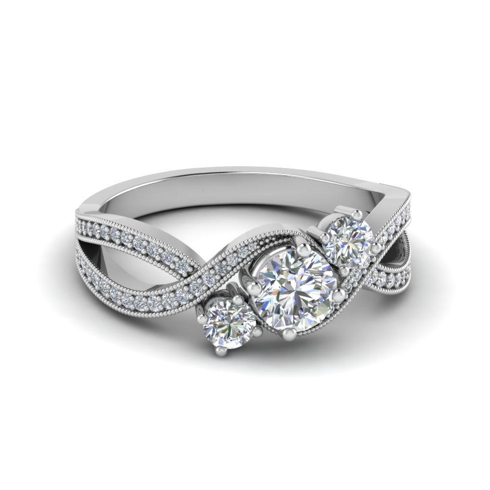 Milgrain Three Stone Diamond Ring