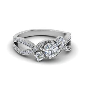 Swirl Milgrain 3 Stone Diamond Ring