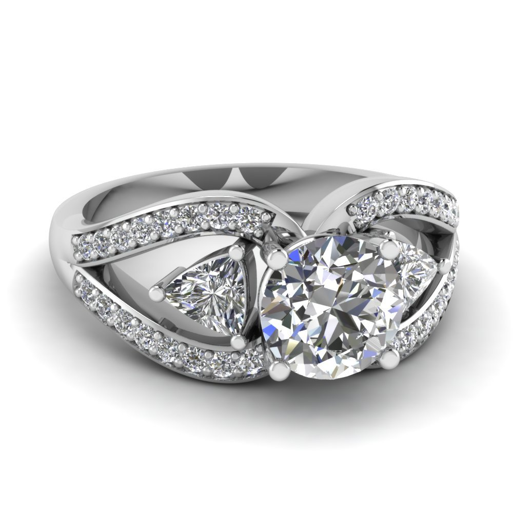 Round Cut Trillion Antique Diamond Ring
