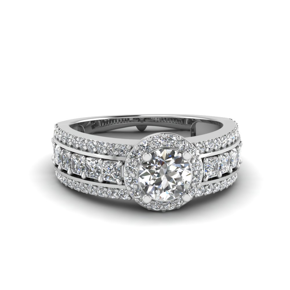 Trio Band Diamond Halo Ring