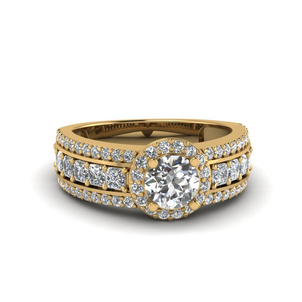 Trio Band Halo Diamond Ring