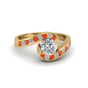 Round Cut Orange Topaz Ring