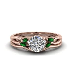 Emerald Twisted Wedding Set