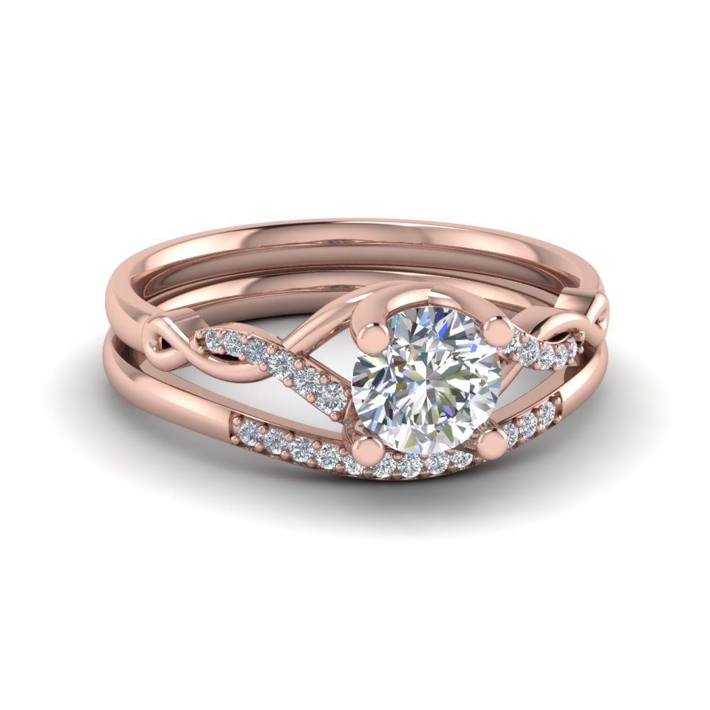 Round Cut Twisted Diamond Wedding Anniversary Ring Sets Gifts In 14K Rose Gold