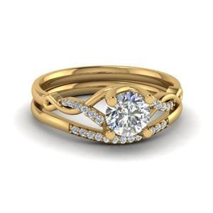 Twisted Diamond Wedding Ring Set
