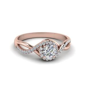 Round Cut Twisted Halo Diamond Engagement Ring In 14K Rose Gold