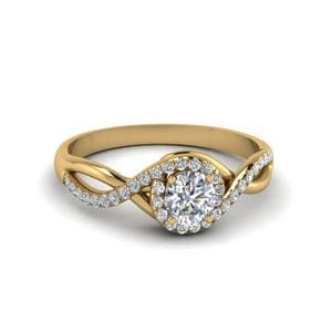 Round Cut Twisted Halo Diamond Engagement Ring In 18K Yellow Gold