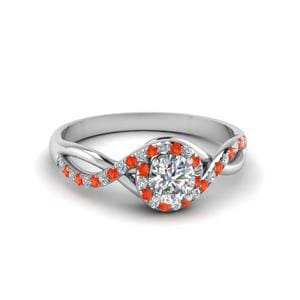 Round Cut Twisted Halo Diamond Engagement Ring With Poppy Topaz In 18K White Gold