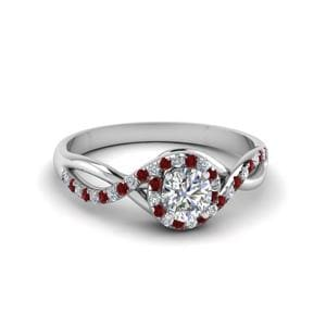 Round Cut Twisted Halo Diamond Engagement Ring With Ruby In 18K White Gold