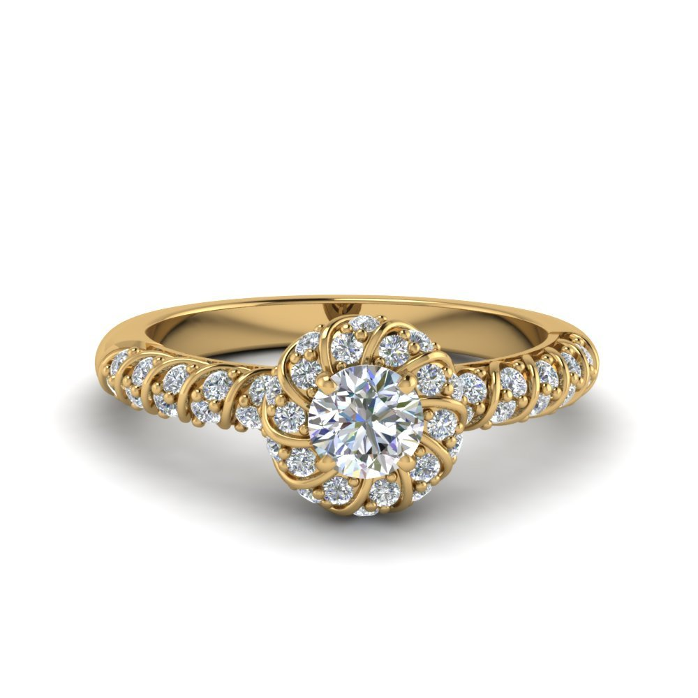 Round Cut Twisted Halo Diamond Vintage Engagement Ring In 18K Yellow Gold