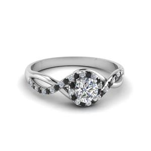 Round Cut Twisted Halo Engagement Ring With Black Diamond In 950 Platinum