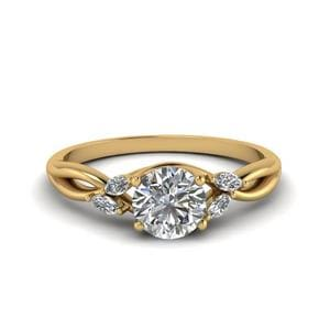 Round Cut Twisted Petal Diamond Ring