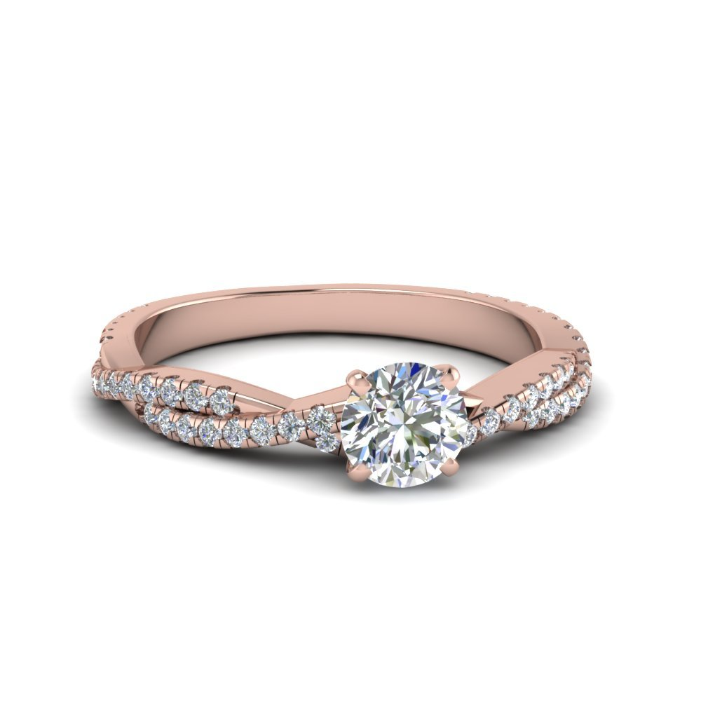 Round Cut Twisted Vine Diamond Engagement Ring In 14K Rose Gold