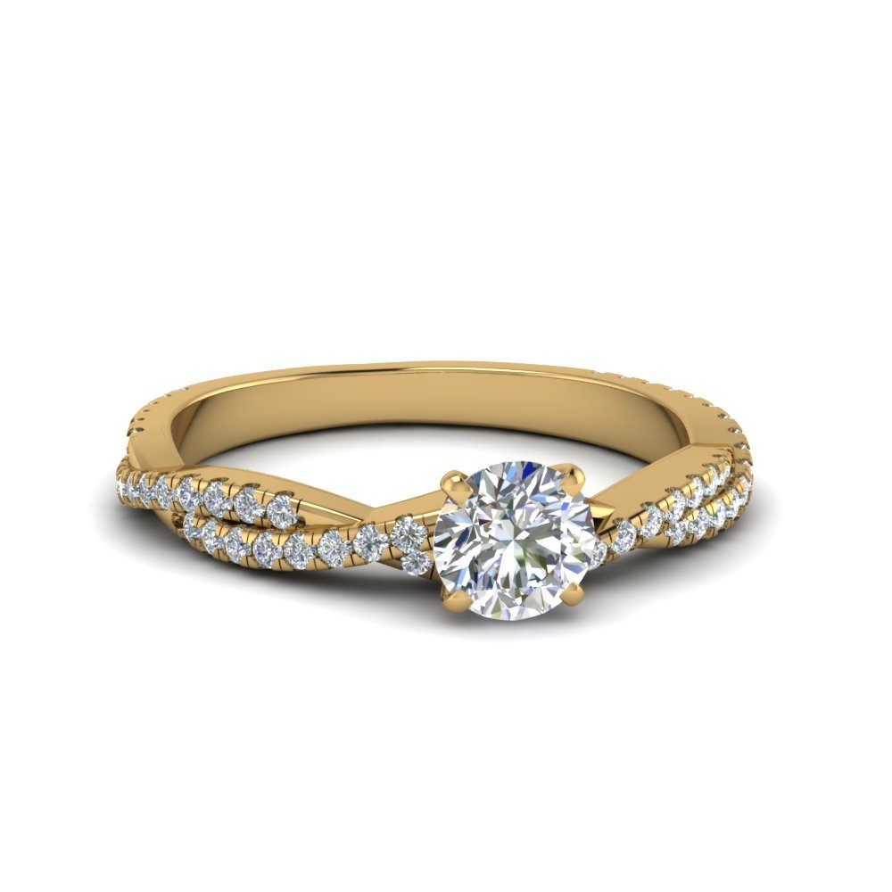 Round Cut Twisted Vine Diamond Ring