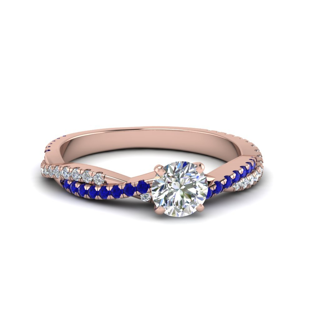 French Pave Round Diamond And Sapphire Ring