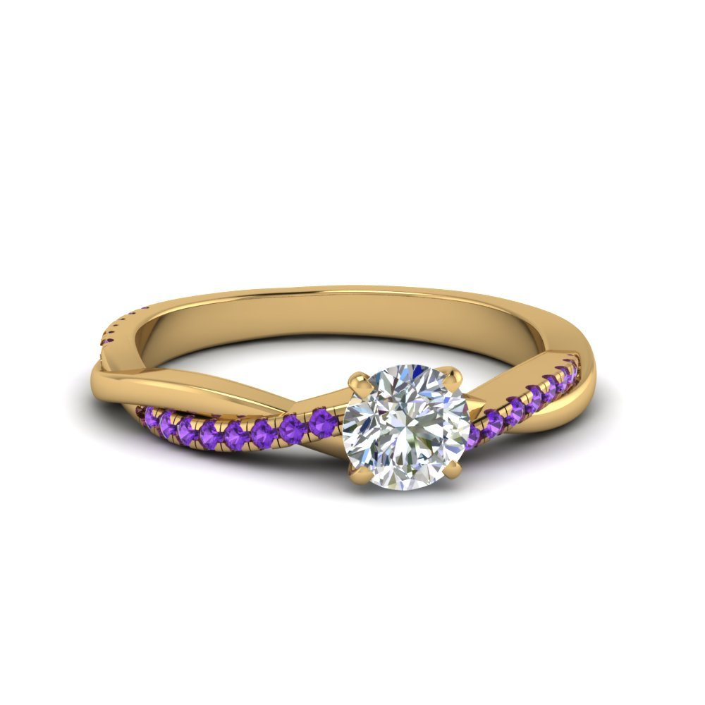 Round Cut Twisted Vine Diamond Ring With Violet Topaz In 14K Yellow Gold