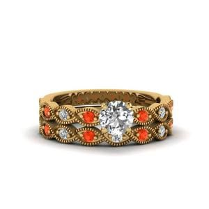 Orange Topaz Braided Wedding Set