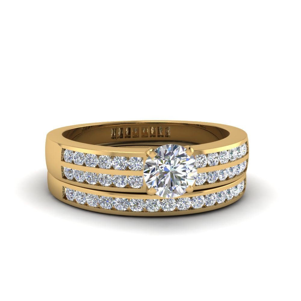 Round Cut Two Row Channel Diamond Bridal Set In 18K Yellow Gold