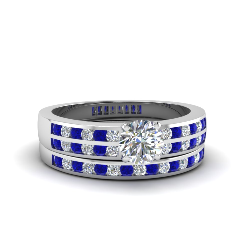 Round Cut Two Row Channel Diamond Bridal Set With Blue Sapphire In 14K White Gold