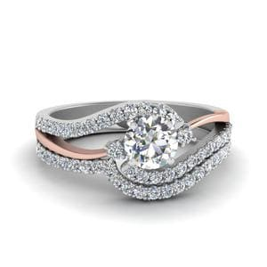 Two Tone 3 Stone Diamond Swirl Bridal Set